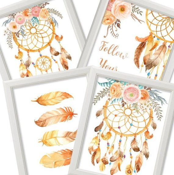 Set of 4 Dreamcatcher watercolor Feathers Follow your Dreams