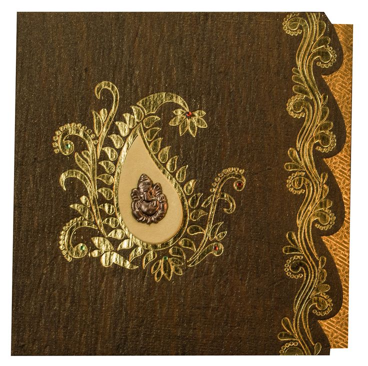 wedding card manufacturers in tamilnadu%0A Hindu Wedding Card in Shiny Brown Handmade Paper  Hindu Wedding Card in  Shiny Brown Handmade Paper