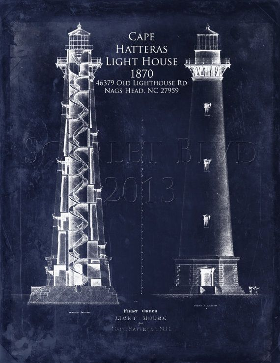 light house blueprint wall art | Cape Hatteras Lighthouse - 8 x 10 Architectural Blueprint Art Print