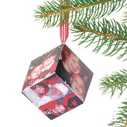 DIY- PHOTO CUBE IDEA- Here's a cool Office or desk photo frame or it makes a great Christmas ornament!