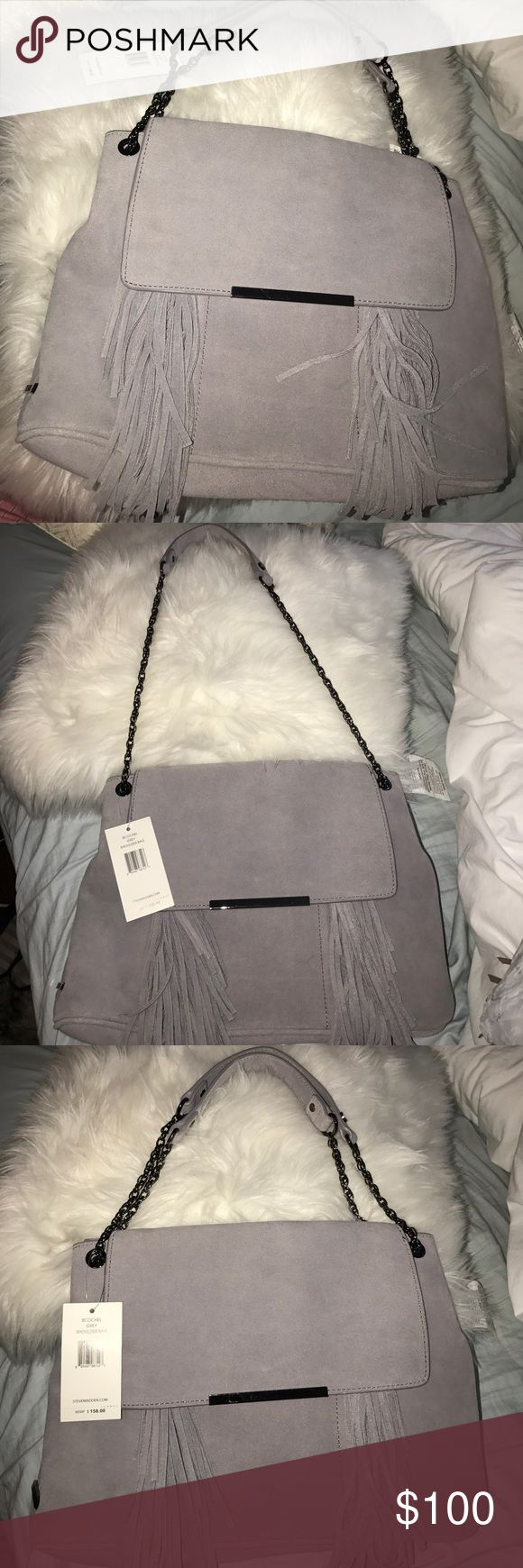 NEW Steve Madden bag Grey shoulder bag , with tags , ruffles on the front . Two size straps Steve Madden Bags Shoulder Bags