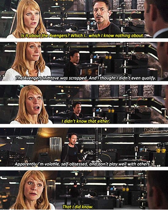 Haha! loved this scene. Pepper Potts, excellent Avengers quote