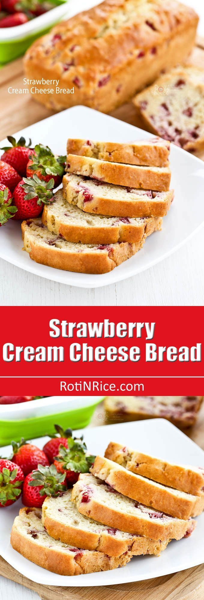 This lovely Strawberry Cream Cheese Bread has a super moist and creamy texture. A must-bake when strawberries are in season!   http://RotiNRice.com