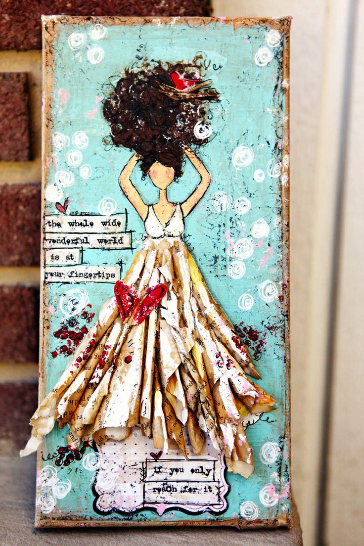 lovely.Butterflies Goddesses, Paper Dresses, Art Journals, Junell Jacobson, Paper Art, Mixed Media Art, Junelle Jacobson, Art Girls, Mixed Media Girls