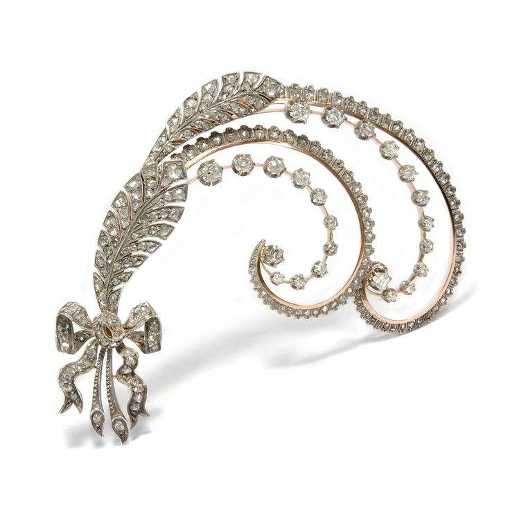 Große Diamant Brosche in Gold & Silber, Paris: Hersant ca. 1905 / Brillanten