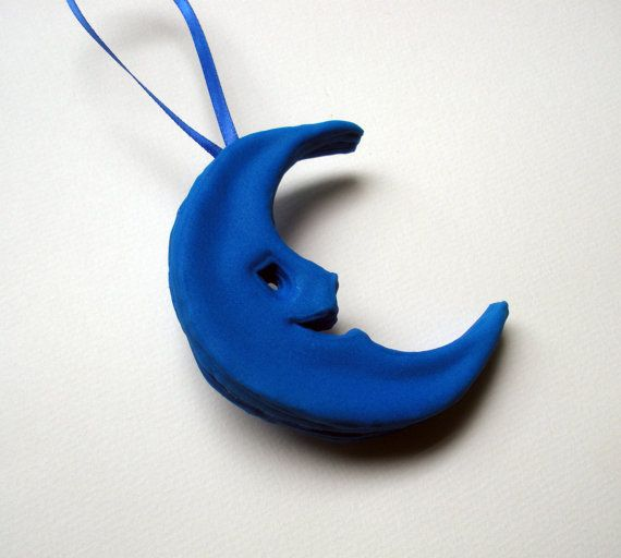 Blue Moon Ornament Sugar Custom Hand Piped Royal by TheHappyPiper, $26.88