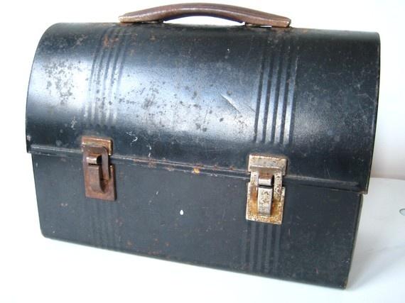 My dad carried one like this.  Vintage Black Metal Lunchbox