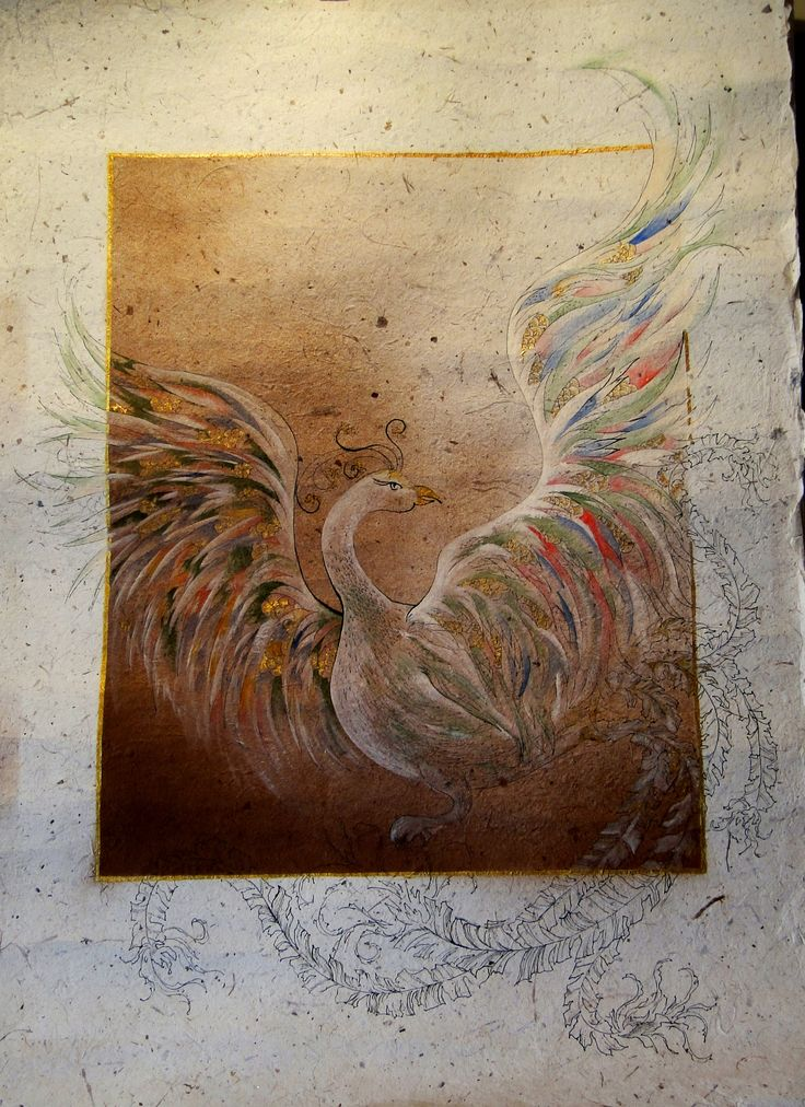 Simurg. Ecoline on paper. Artist, Gunseli Toker