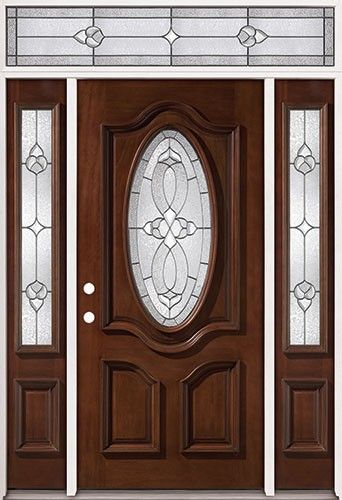 3 4 Oval Mahogany Prehung Wood Door Unit With Transom 86