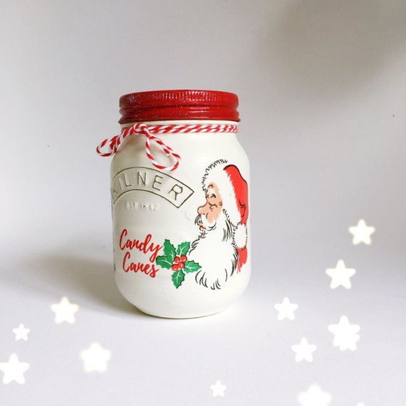 Hand Painted And Decoupaged Kilner Jar With A Father Christmas Theme Customised With The Words Candy Canes Finished With Jar All Things Christmas Kilner Jars