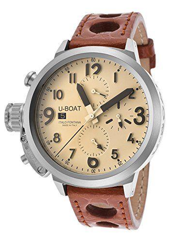 U-Boat UBOAT-7117 - Reloj para hombres, correa de cuero color marrón