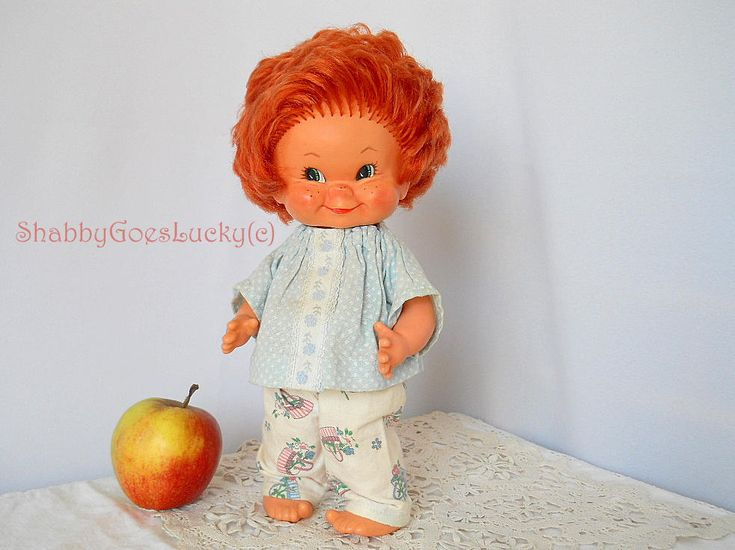 German vintage 1957 Hummel Goebel rubber doll boy Stups, designed by Charlot Byj in pajamas, impish redheaded collectible old doll by ShabbyGoesLucky on Etsy
