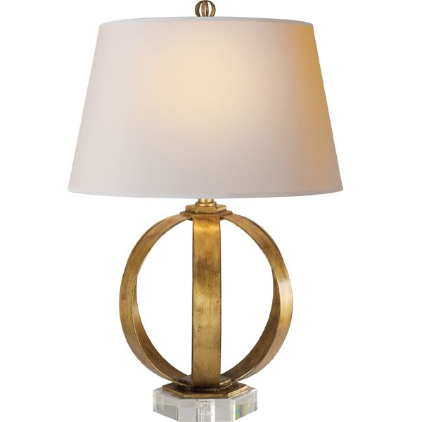 Metal banded table lamp gold circle circa lighting side table lamp simple elegant glam