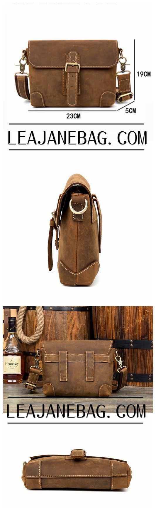 Brown Leather Messenger Bag, Side Bags for Mens, MS137