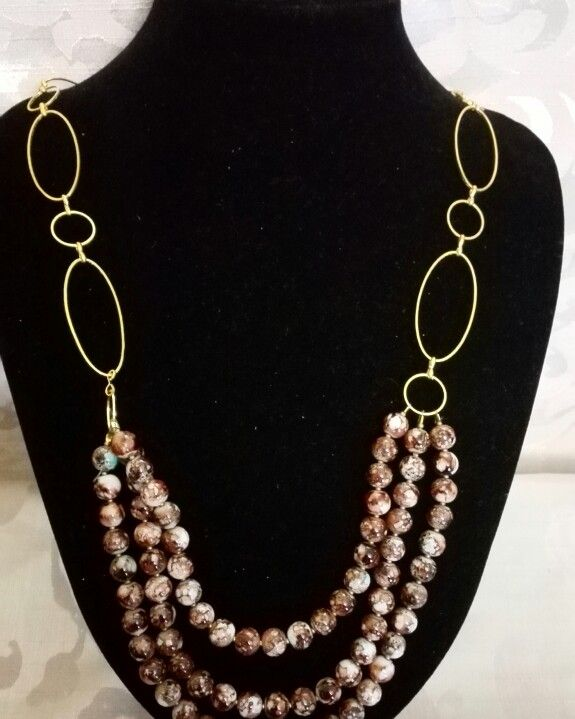 Brown,beige,turquoise bead and gold necklace