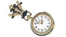 Orologio-gioiello a ciondolo in oro, con diamanti e smalto blu, realizzato nel 1894 da Audemars Piguet per Tiffany & Co