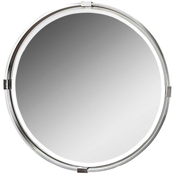 Uttermost Tazlina Brushed Nickel Round Mirror (11 635 UAH) ❤ liked on Polyvore featuring home, home decor, mirrors, round mirror, brushed nickel mirror and circular mirrors