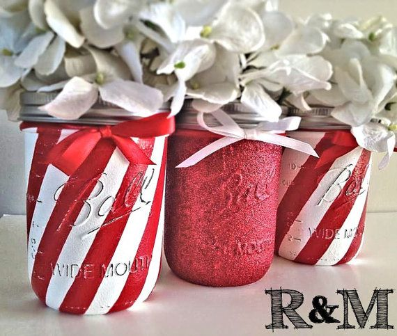 Mason Jar Christmas Decorations: Christmas Decor, Holiday Decor, Christmas, Painted Mason