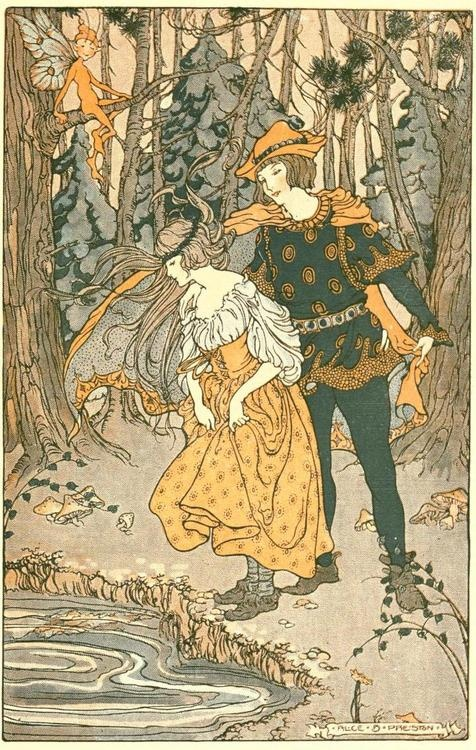 The Green Forest Fairy Book -- Alice B. Preston -- Fairytale Illustration