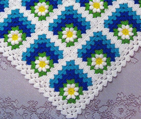 PDF Pattern Crocheted Baby Afghan, Mitered Summer Daisy Baby Afghan Blanket Pattern *******for purchase