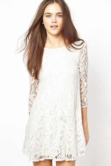 White O-neck Long Sleeves Lace Dress