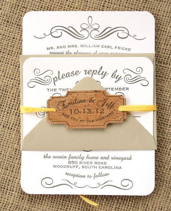 Vintage Calligraphy Letterpress Wedding Invitation, Grey, White, Kraft Paper, Cork, Rustic
