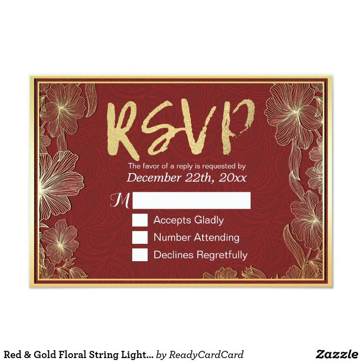Red & Gold Floral String Lights Wedding RSVP Reply Card