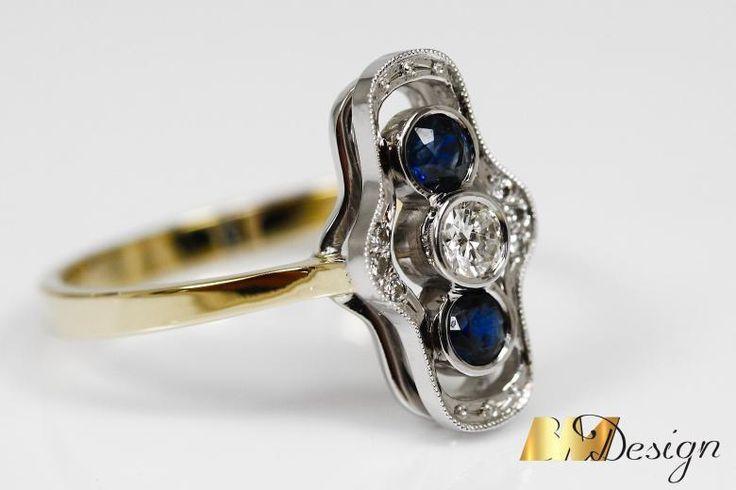 Stylowy pierścionek z szafirami i diamentami projekt i wykonanie Bm Design. Zjawiskowy, pierścionek z szafirami i diamentami. Kolorowy - Biżuteria na indywidualne zamówienie. Pierścionek w starym stylu Złoto Diamenty Szafiry Biżuteria Platyna