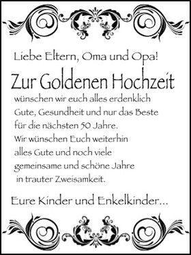 Goldenen wünschen eurer zu euch hochzeit wir Goldene Hochzeit