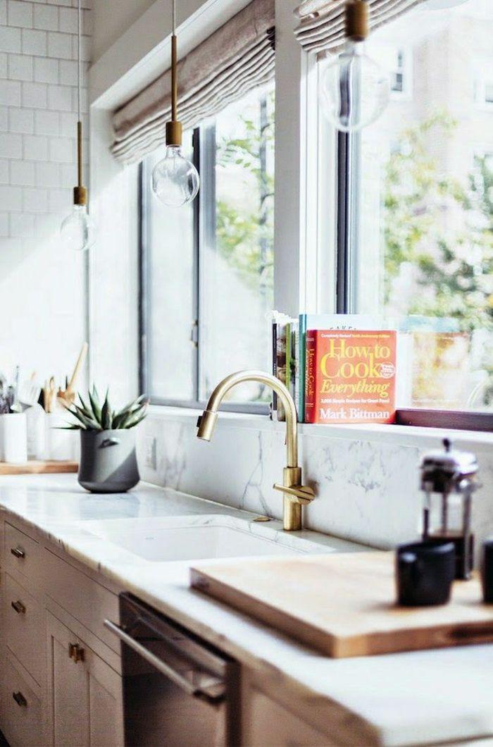 jolie cuisine zen avec credence de cuisine en marbre