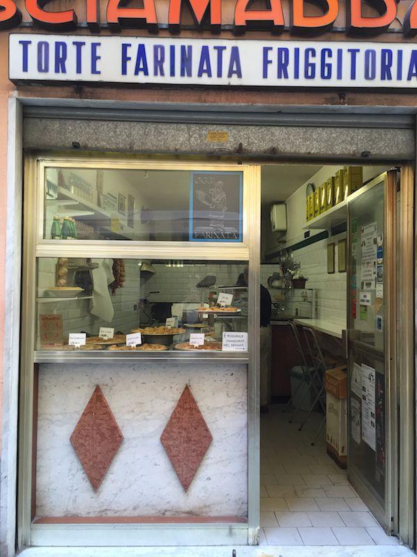 A typical Genoese street food shop