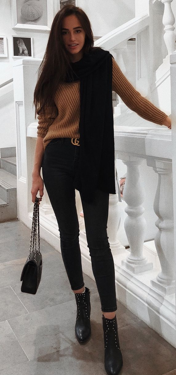 black and nude / sweater + scarf + skinnies + bag + boots