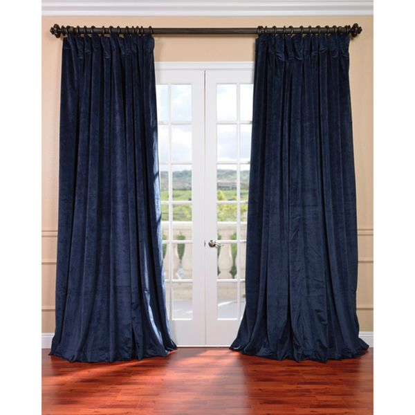 Exclusive Fabrics Midnight Blue Velvet Blackout Extra Wide Curtain Panel By  Exclusive Fabrics
