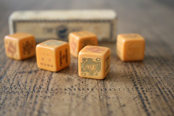 St George Series Poker Dice Game Bakelite Set of by FoundByHer