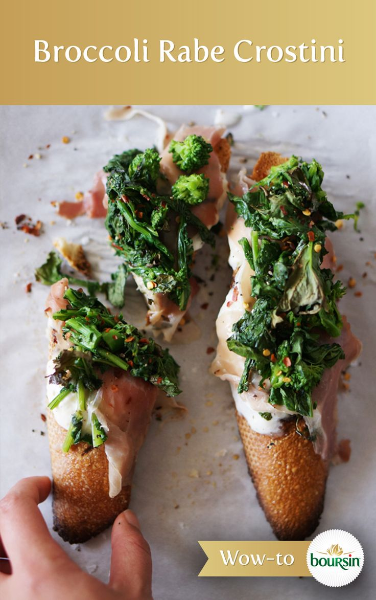 baguette slices with a spread of Boursin cheese, roasted broccoli rabe ...