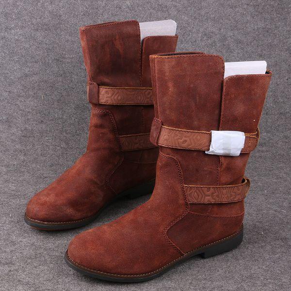 Переход внутренней торговли U Эму обувь на плоской выше в осенние и зимние сапоги кожаные сапоги одиночные британские сапоги в стиле
