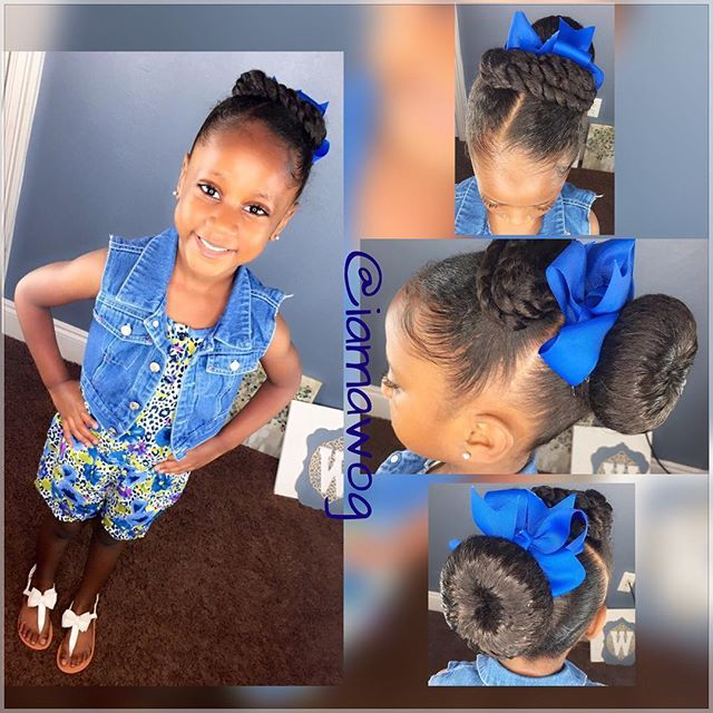 My #PrettyPrincess  #HOTD is a switch up from the sock bun & curls to simply a sock bun & ponytails  I achieved this style by using the @cantubeauty Care For Kids Line  Check out my product review/demo video by clicking the link in my bio OR search IAMAWOG on #YouTube #theBLUEbowgirl #CantuKids #CareForKids #kidsnaturalhairstyles #myhaircrushkids #teamnatural_