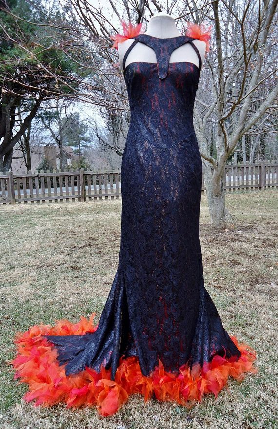 Hunger Games Katniss Everdeen Catching Fire Dress Costume Tribute Parade Chariot Gown black lace, fire effects train ready to ship size 8 US on Etsy, $499.00