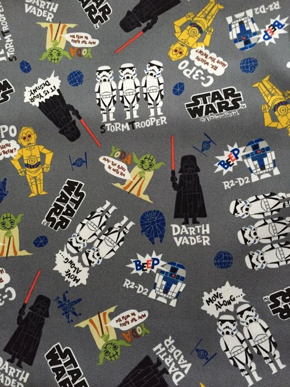 SALE Star Wars fabric Grey colour Anime Star wars 100cm x 48cm SIZE 100cm x 48cm Unfinished edges  Made in Japan 100%cotton