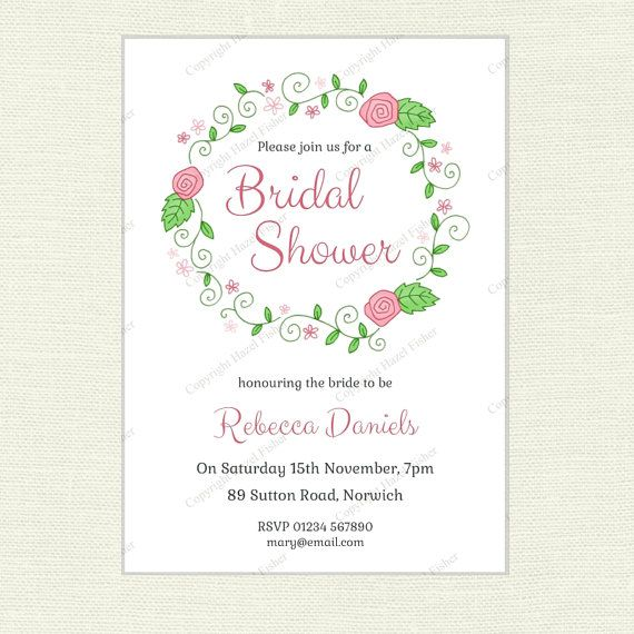 Floral Wreath Bridal Shower Invitation (pink) printable by hfcSupplies