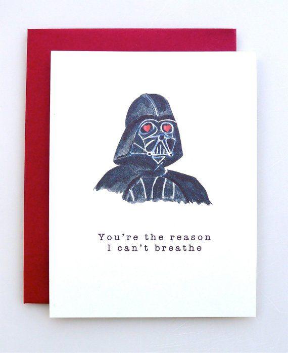 Valentine's Day Card Darth Vader – funny valentine – star wars valentine – handmade – valentine card – paper – valentine humor