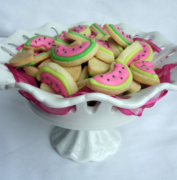 ITTY BITTY Bite Size WATERMELON Sugar Cookies 1/2 by sugarandflour, $10.50