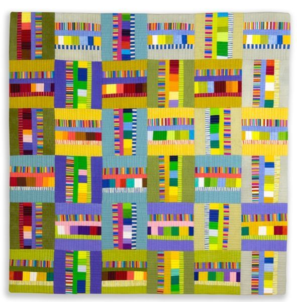 "Zesty Tartan - 31""x 31"" Private Collection. I love the use of color and the little squares interspersed with rectangles."