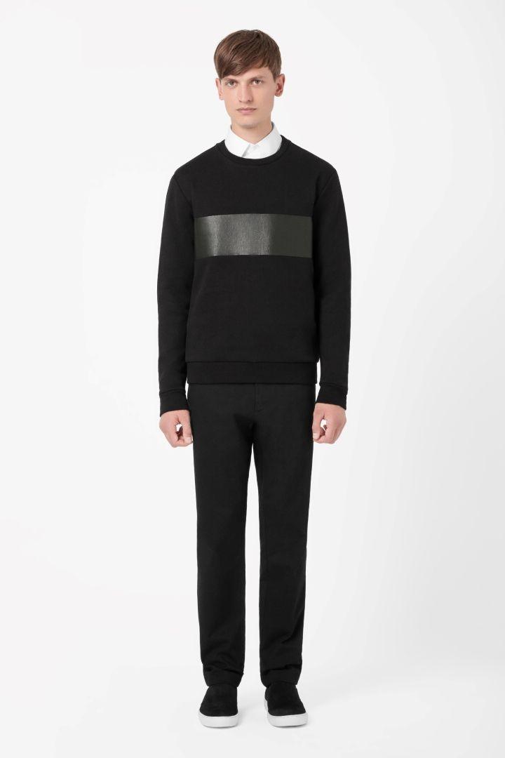 COS   Leather panel sweatshirt