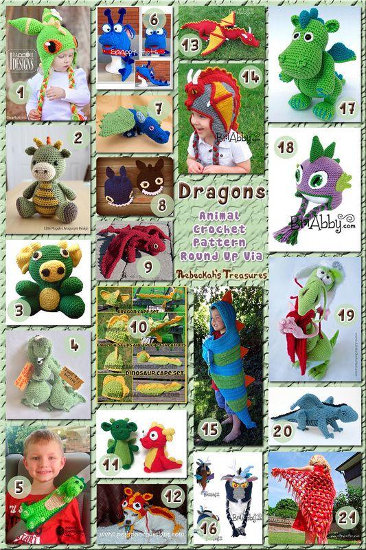 Dragons - Animal Crochet Pattern Round Up via @beckastreasures
