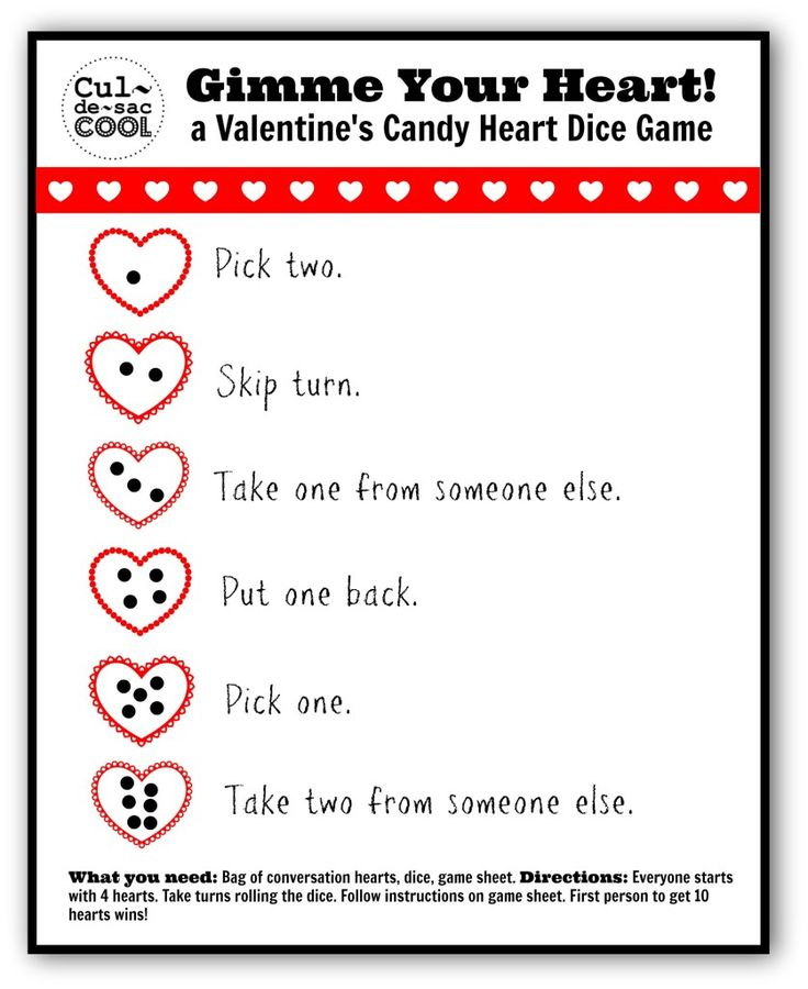 Gimme Your Heart! A Valentine's candy heart dice game!! | CULDESACCOOL.COM