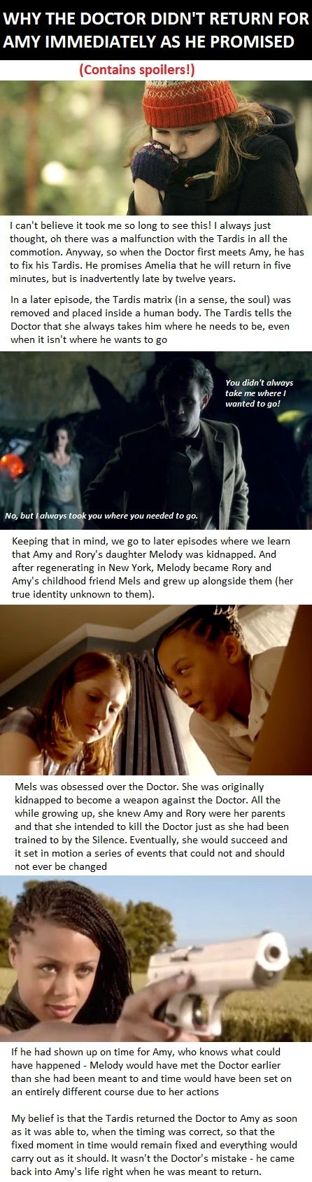 Why the Doctor didn't come back for Amy for 12 years - the whole course of history would change if he had been on time! HIS personal destiny would have changed if he had been on time! If Mels were to succeed in killing him at her younger age, then Rory and Amy would never had ended up having River in the Tardis while traveling, resulting in a regenerating, kidnapped baby trained to destroy the Doctor, but in that case, who would have killed the Doctor? Was the Tardis avoiding paradoxes? Yes.