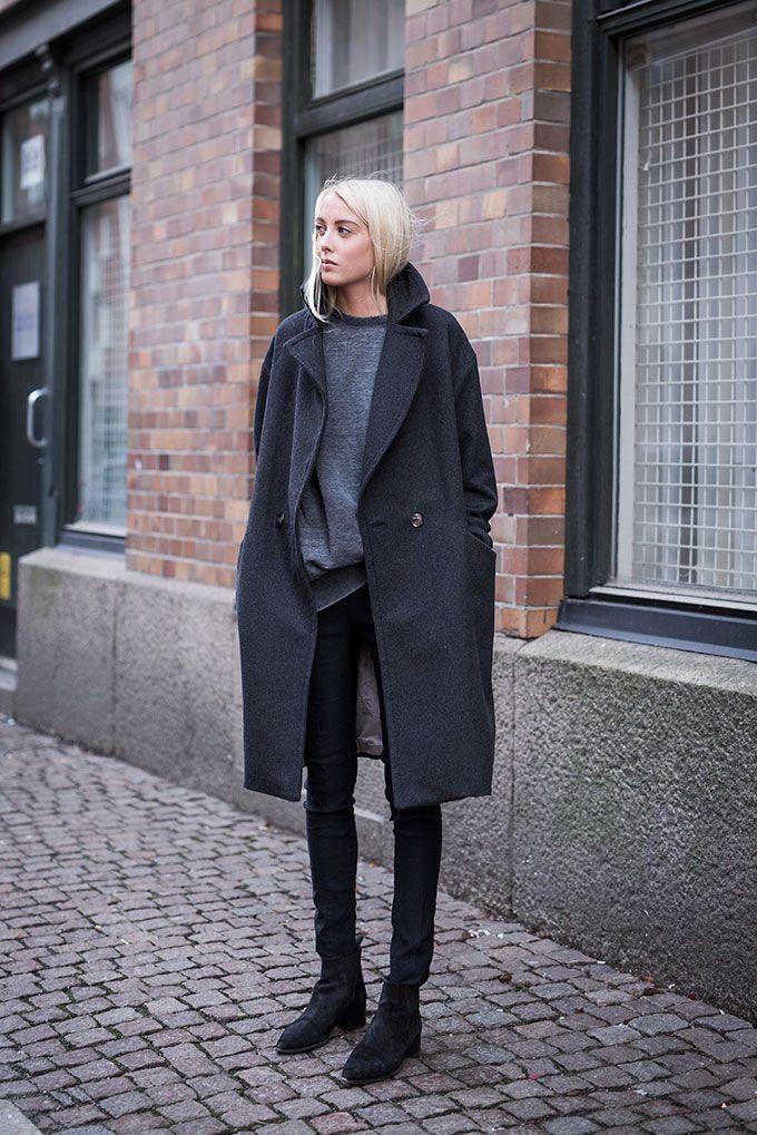 H&M Conscious Collection Oversize Boyfriend Coat Dark Grey 8 10 12 14 16 Blogger