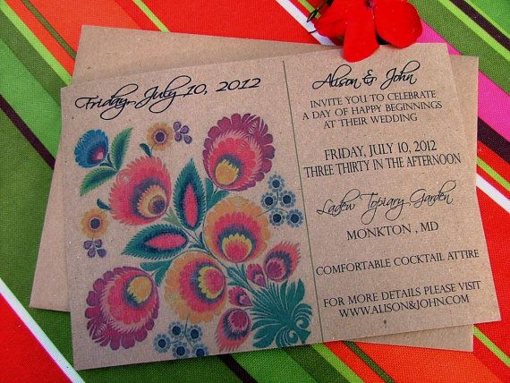 Colorful Wedding Invitation Fabulous Folk, Mexican, Peruvian Textile Inspired Bright and Beautiful