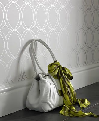 accent wallpaper - dining or bedroom...but aside from that, PURSE. LOVE the scarf!